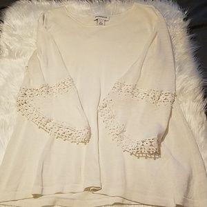 Peck & Peck White Crochet Sleeve Blouse